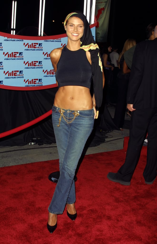 Heidi Klum showed off her midriff when she hit the red carpet for the VMAs in 2001.