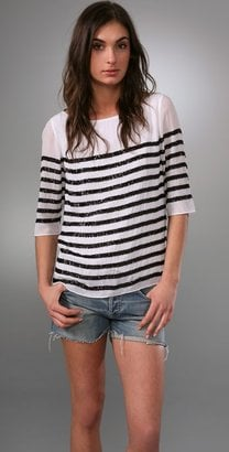 Alice + Olivia Stripe Sequin Tee