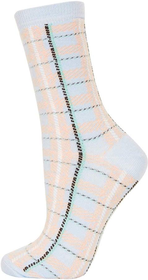 Topshop Pale Blue Summer Check Socks ($6)