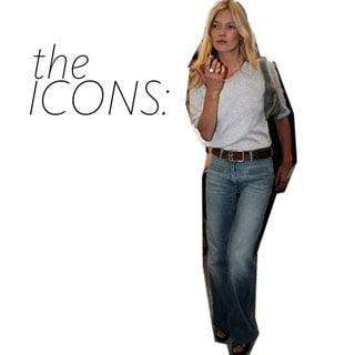 The Icons: Get Kate Moss's 70s Jeans and Grey TShirt Look With These Fashion and Beauty Buys
