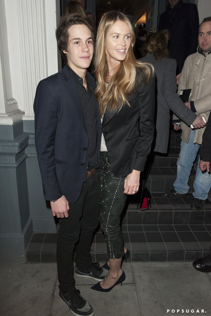 Elle Macpherson posed with her son at an event in London.