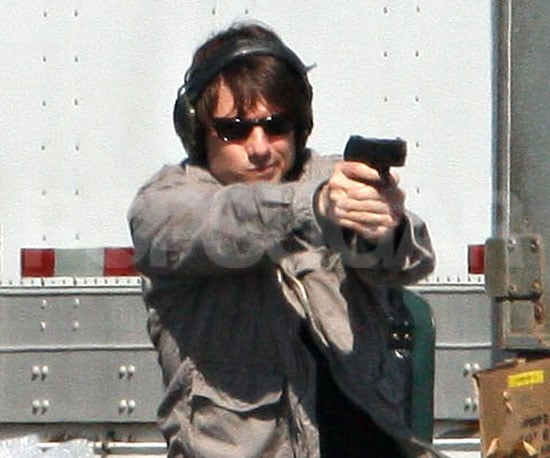 Slide Photo of Tom Cruise on the Wichita Set Shooting a Gun