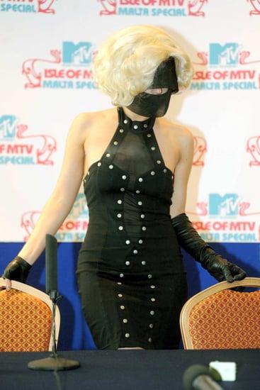 Lady Gaga Wears a Black Burka-Like Mask to a Press Conference in Malta