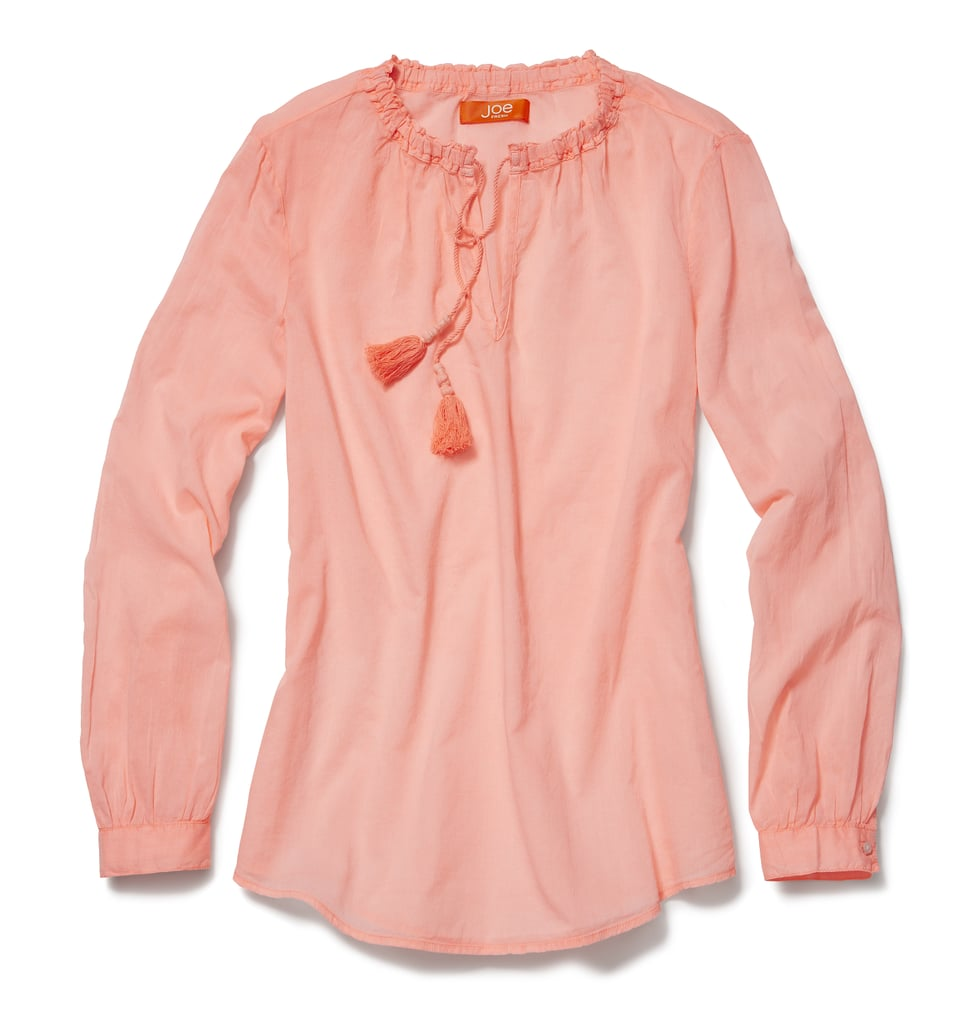 This pretty, salmon-colored Joe Fresh Neon Boho Blouse ($19) can be worn all Summer long with jeans and printed shorts.