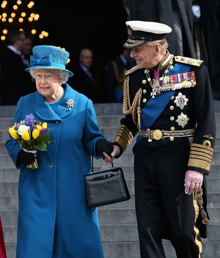 Prince Philip and Queen Elizabeth II held hands as they left London's St. Paul's Cathedral in March 2015.