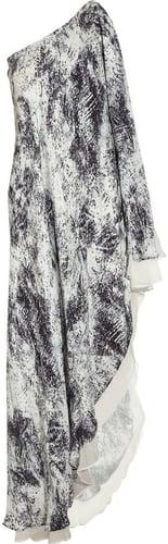 Halston Heritage Cascading printed silk-chiffon maxi dress