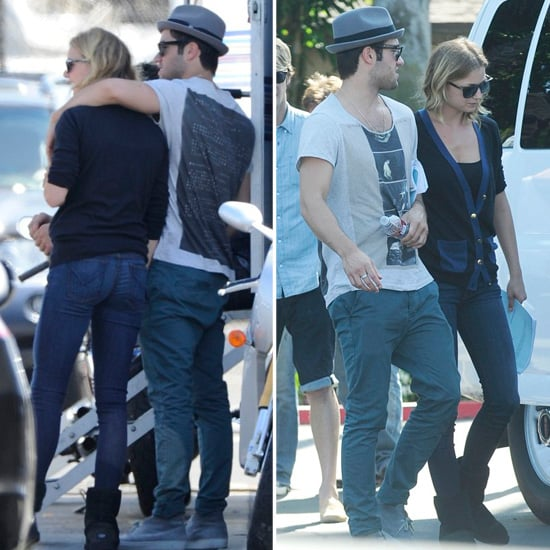 Emily VanCamp and Joshua Bowman Flirt and Film on Set