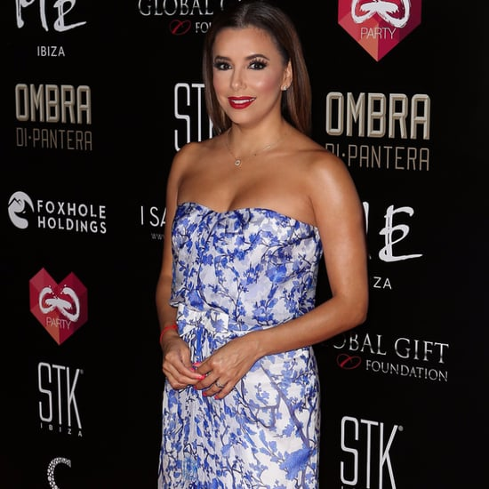 Eva Longoria's Blue and White Floral Gown July 2016