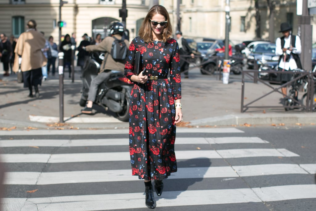 J.J. Martin carried off a floral frock with tomboy boots.