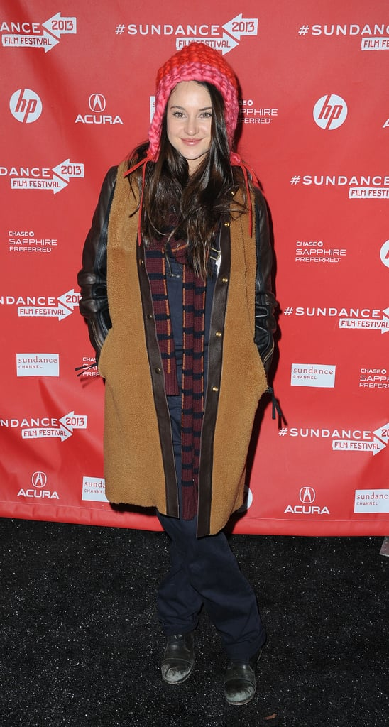 A slick, two-toned (not to mention, mixed-media) coat is just the thing to take your Winter outfit from casual to cool, as evidenced by Shailene Woodley's The Spectacular Now premiere appearance.