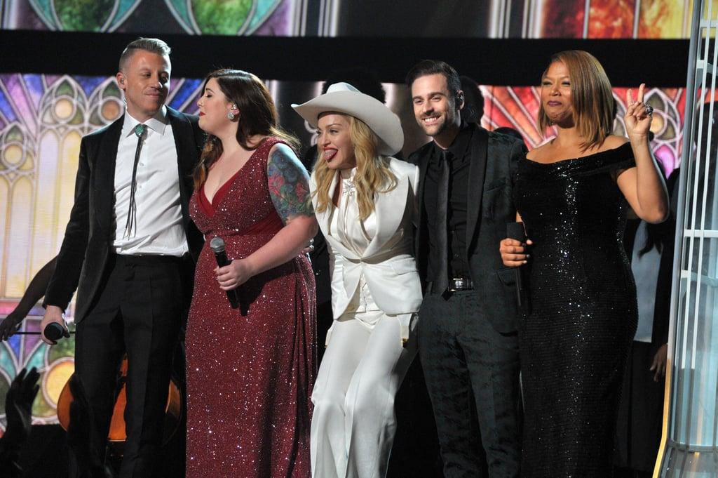 Madonna ended her performance with Macklemore, Ryan Lewis, Mary Lambert, and Queen Latifah.