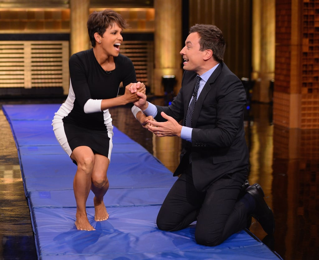 She rolled around with Jimmy Fallon in this black-and-white Astars dress.