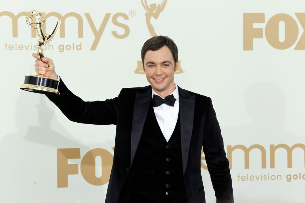 Jim Parsons showed off his Emmy.