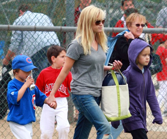Slide Photo of Reese Witherspoon, Ava and Deacon at a Baseball Game