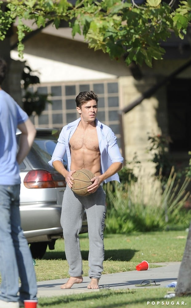 Zac Efron shot hoops on the Townies set.