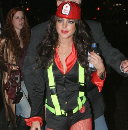 Lindsay Lohan was spotted around NYC as a firefighter in 2005.