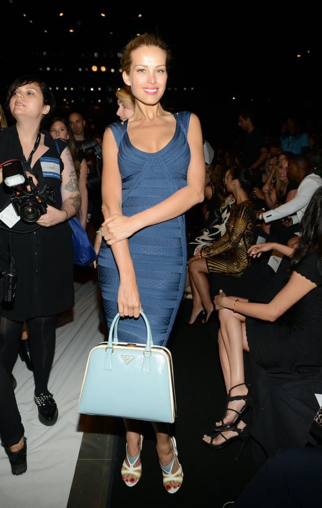 Petra Nemcova amped up the sex appeal in a blue Hervé Léger dress, which she paired with a retro Prada bag and matching sandals.