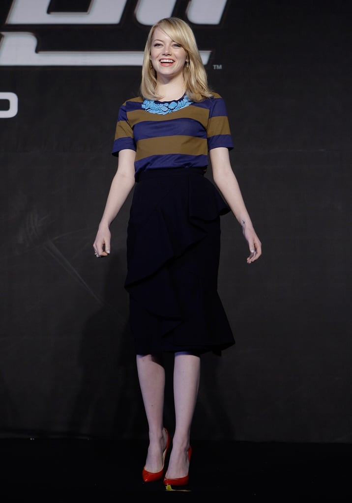 Emma Stone wore an outfit from Burberry Prorsum in Seoul.