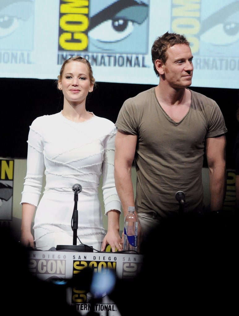 Jennifer Lawrence met up with Michael Fassbender at the panel discussion for X-Men: Days of Future Past.
