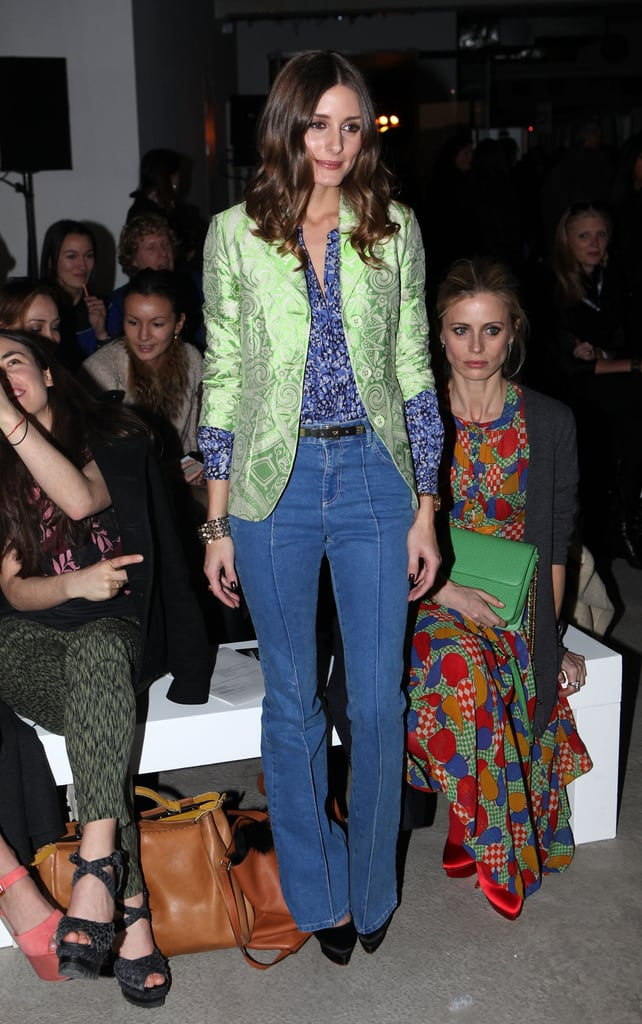 Olivia Palermo, who just launched her own style blog, went for the '70s-cool vibe in a light-hued, high-waisted pair and a little print play on top.