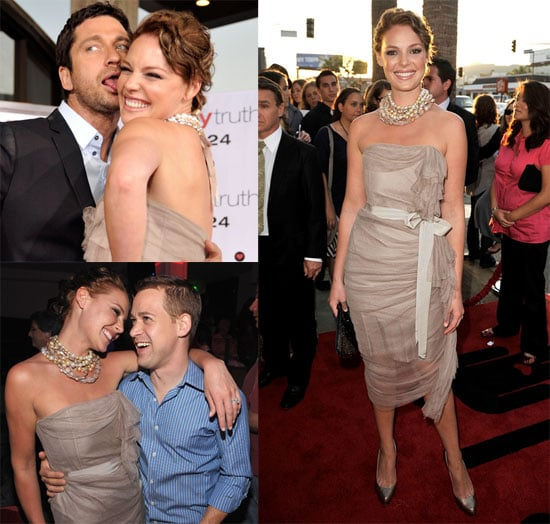 Photos of Brunette Katherine Heigl and Gerard Butler at The Ugly Truth Premiere