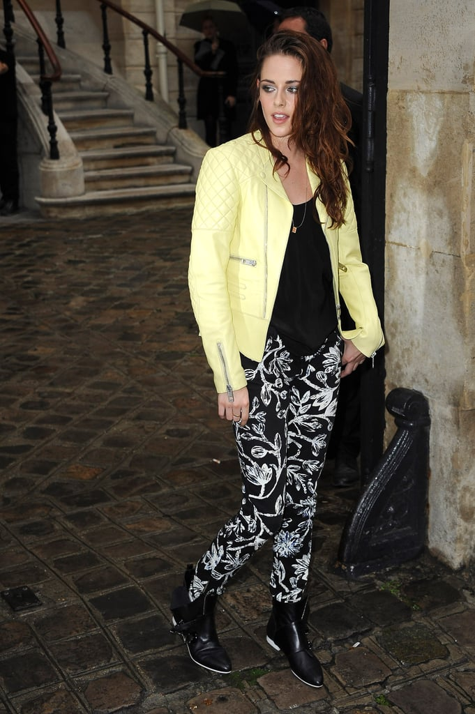 Kristen Stewart struck a pose outside of Balenciaga's Paris show.