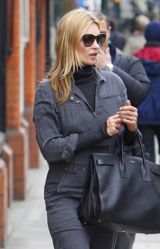 The classic bag also proved to be a solid match for a denim jumpsuit the model picked for a stroll around London. Photo courtesy of Saint Laurent