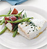 Fast & Easy Dinner: Poached Halibut with Green Beans and Potatoes