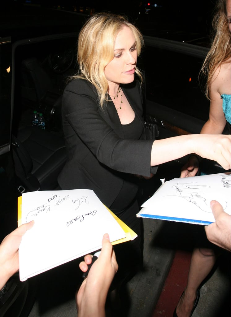Anna Paquin met some fans before getting into her car in West Hollywood.