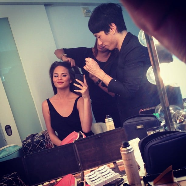 Chrissy Teigen documented getting ready with her stylists before FNO. Source: Instagram user chrissy_teigen