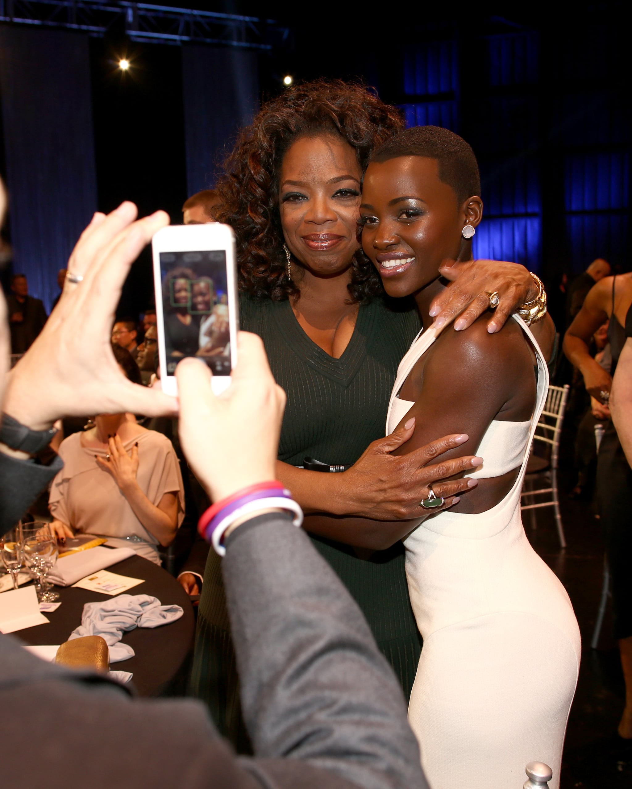 Lupita Nyong'o and Oprah posed for a photo inside the Critics' Choice Awards.