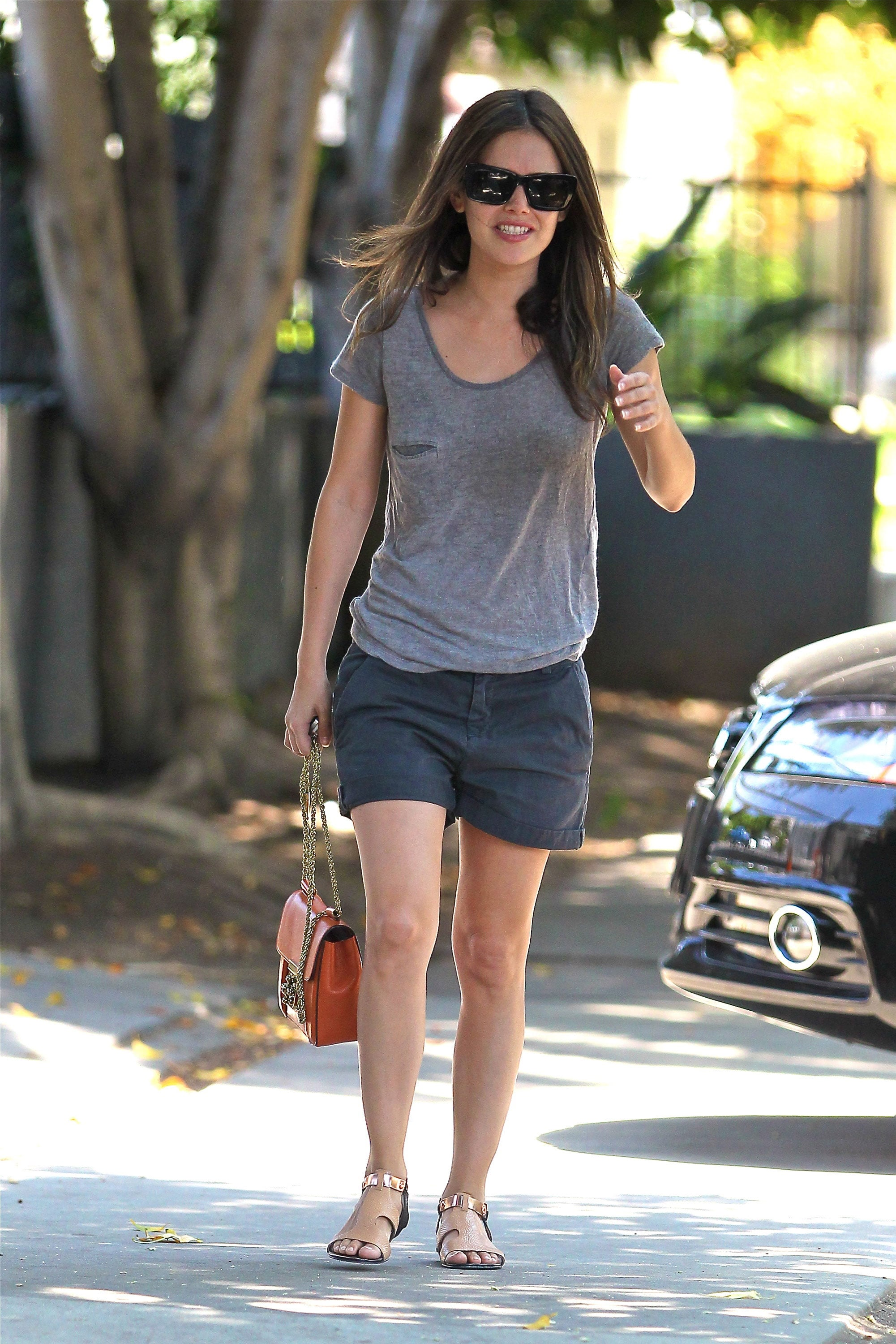Rachel Bilson kept it simple in a slouchy tee and shorts ...