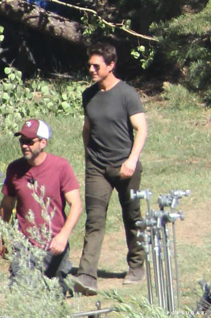 Tom Cruise looked happy on the set of Oblivion in June Lake, CA.