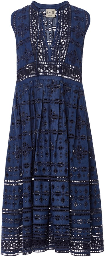 Sea Diamond Eyelet Denim Dress ($460)