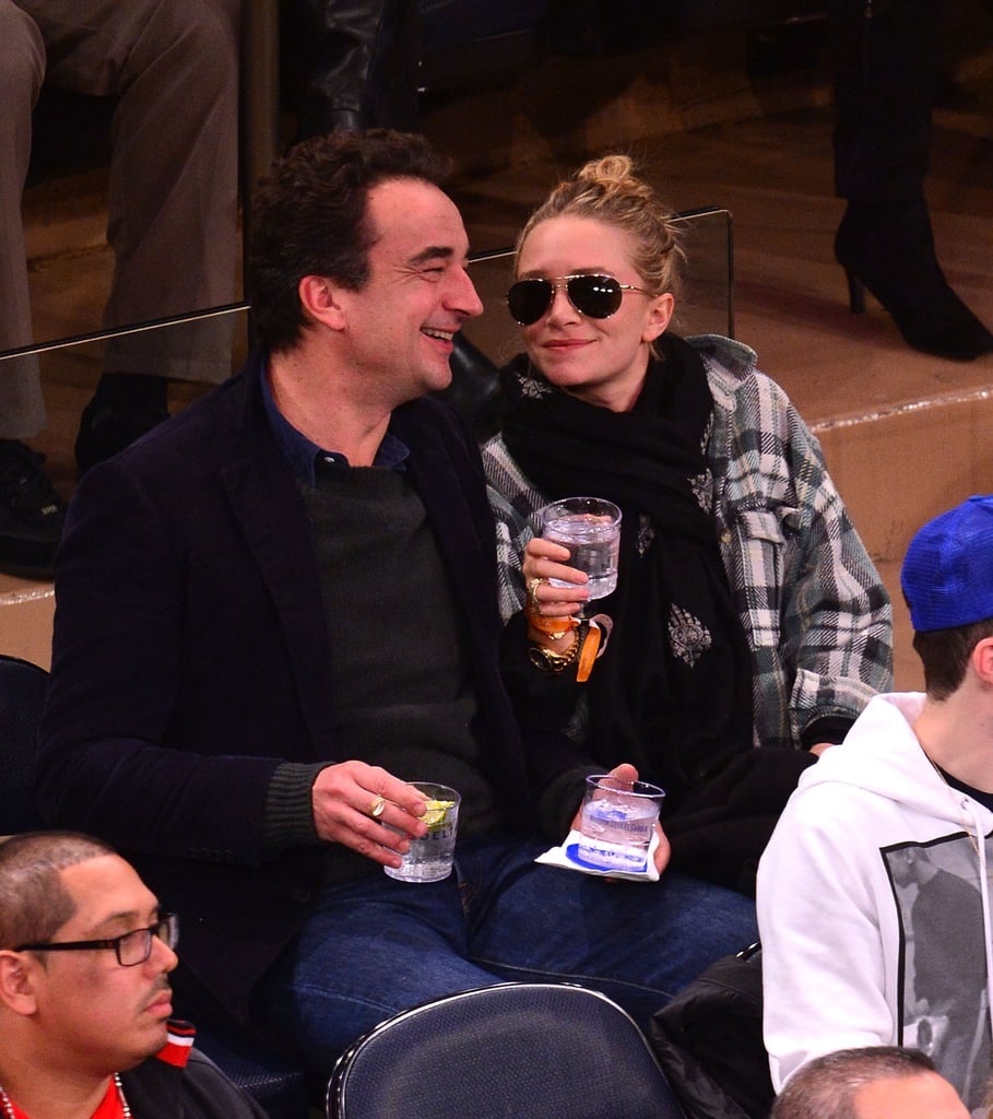 Mary-Kate Olsen and Olivier Sarkozy sat courtside at the New York Knicks game.