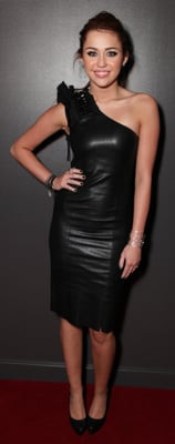 Miley Cyrus in Black Leather Dress
