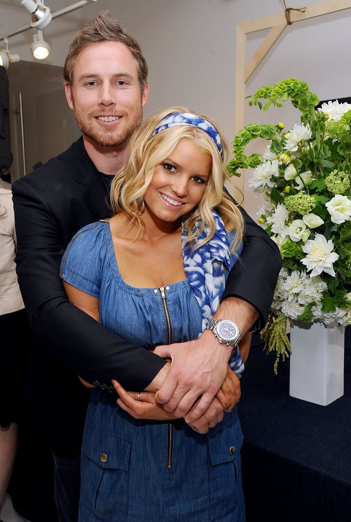 Eric accompanied Jessica to the launch event for her denim line in 2010.