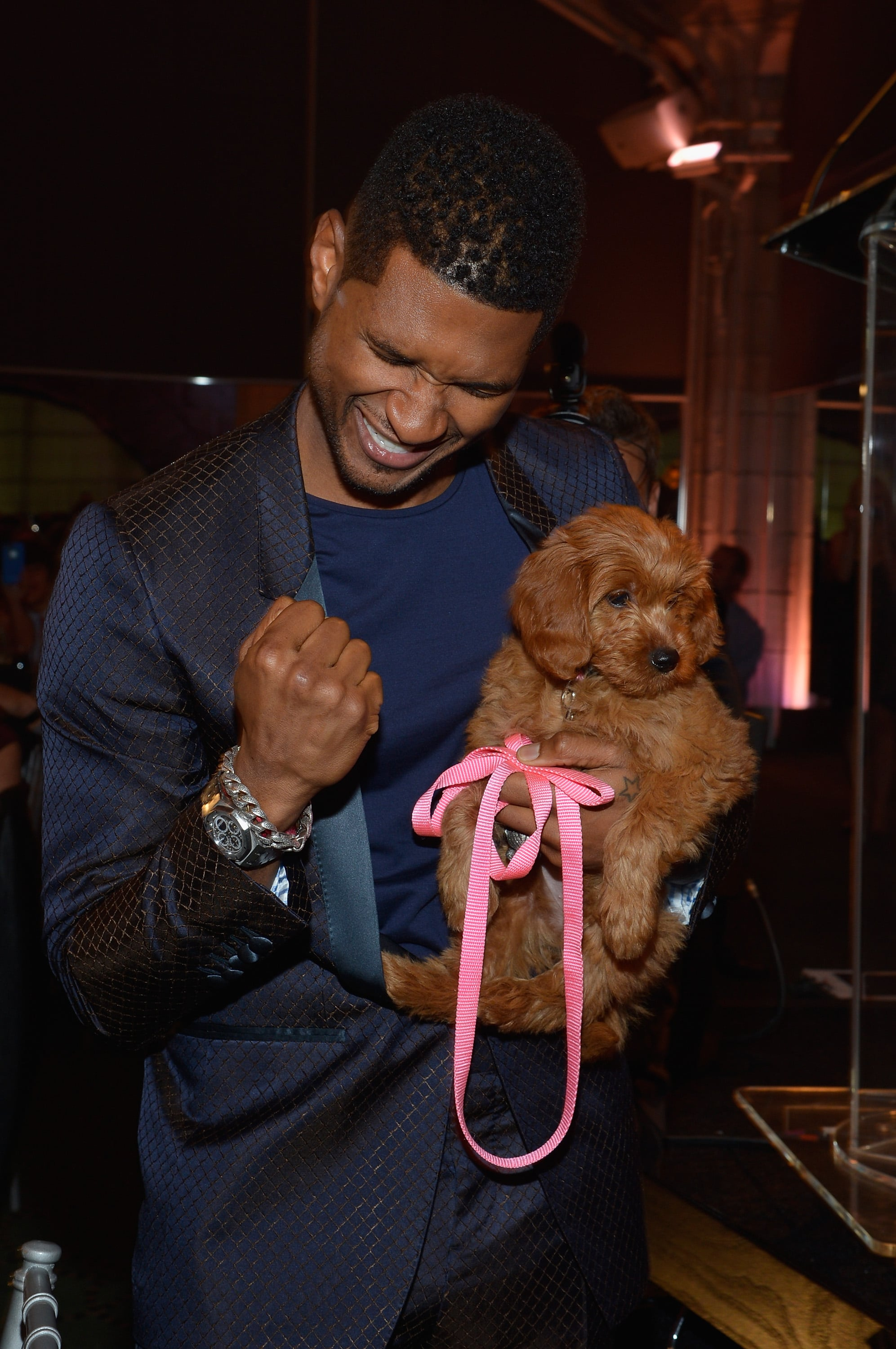Usher famously bid $12,000 for a Goldendoodle puppy at the Pencils of Promise Gala in October 2012 —look how excited he was about his win!