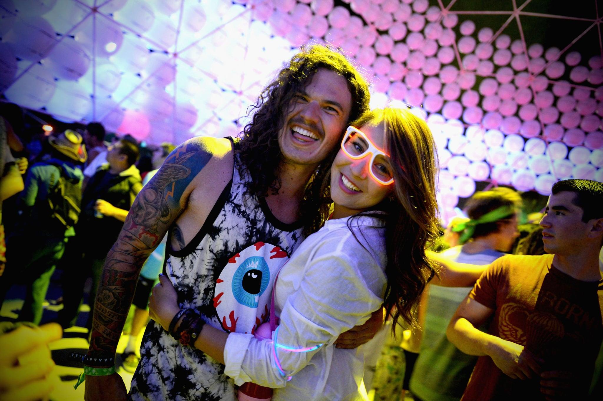 A couple glowed at the Coachella music festival in Indio, CA.