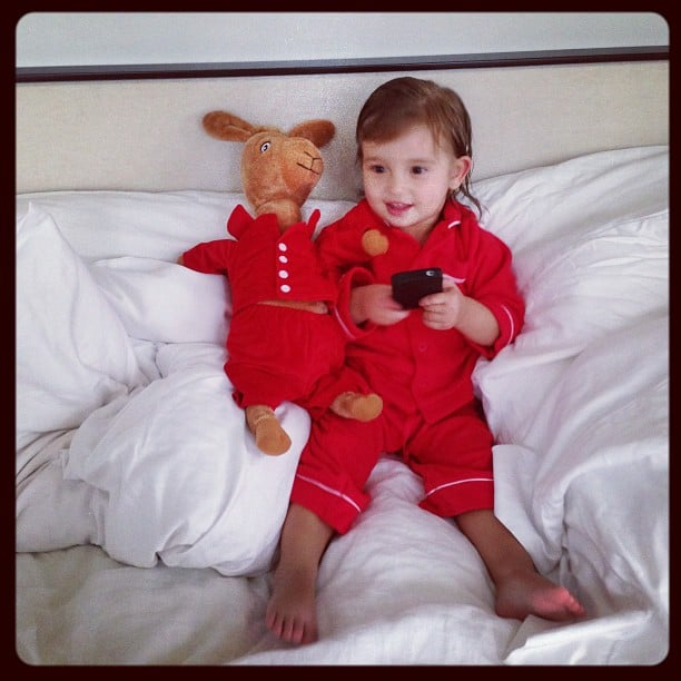 Arabella Rose Kushner enjoyed some matching time with her Llama Llama Red Pajama friend. Source: Instagram user ivankatrump