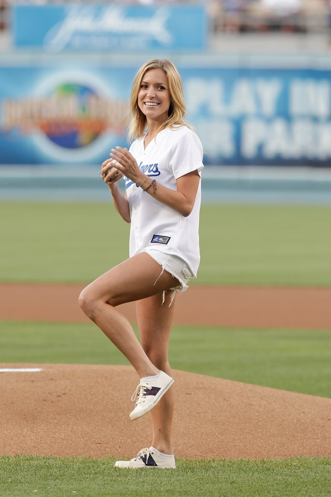 Kristin Cavallari wore a pair of cutoffs on the mound at the LA Dodgers game in July 2010.