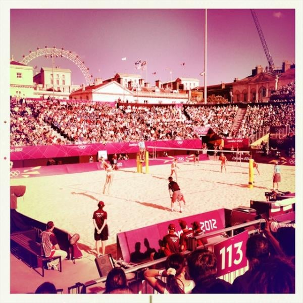 Mark Hoppus watched beach volleyball at the Summer Olympics in London.  Source: Twitter user markhoppus