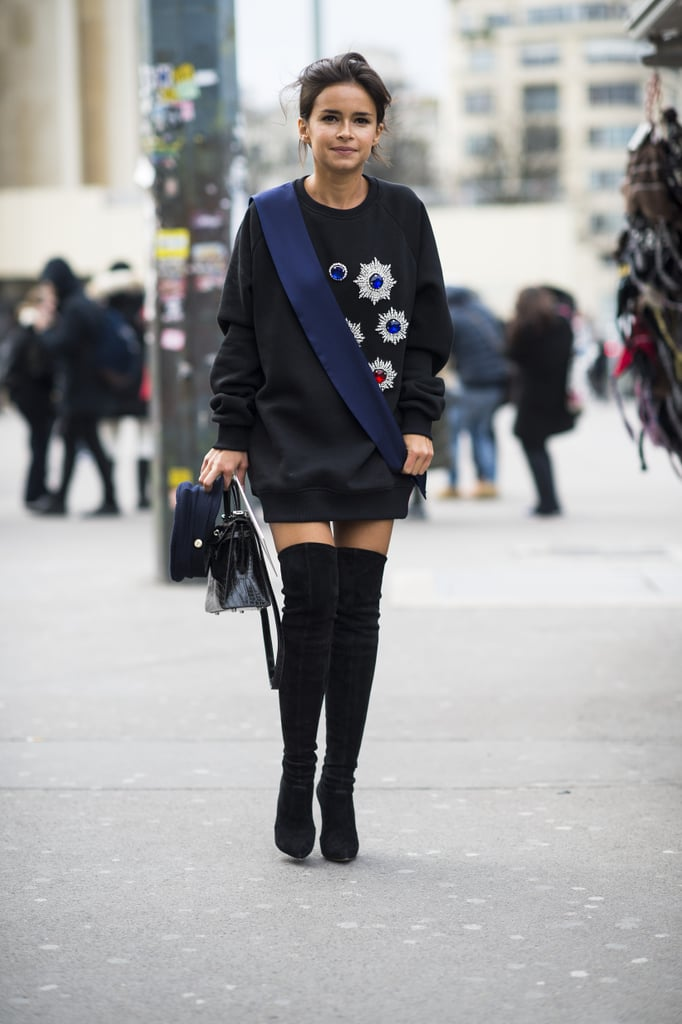 Another style win for Miroslava Duma in an oversize, jeweled sweatshirt and over-the-knee boots.  Source: Le 21ème   Adam Katz Sinding