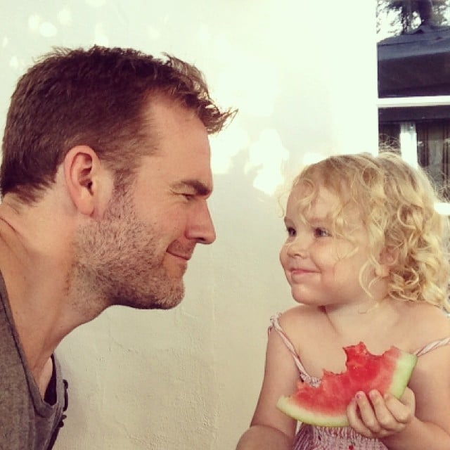 James Van Der Beek chowed down on watermelon with his daughter, Olivia, on Father's Day. Source: Instagram user vanderjames