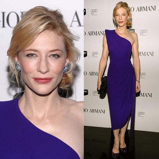 Cate Blanchett Wears One Shoulder Armani Prive Purple Dress and Blue Topaz Earrings
