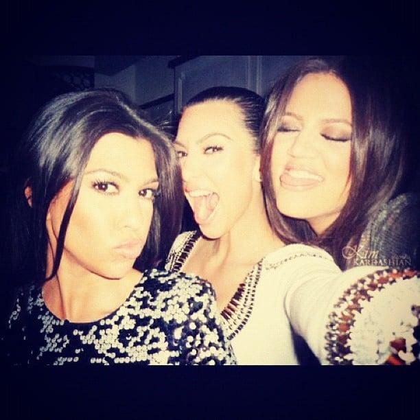 The Kardashian sisters joked around for a photo. Source: Instagram user kimkardashian