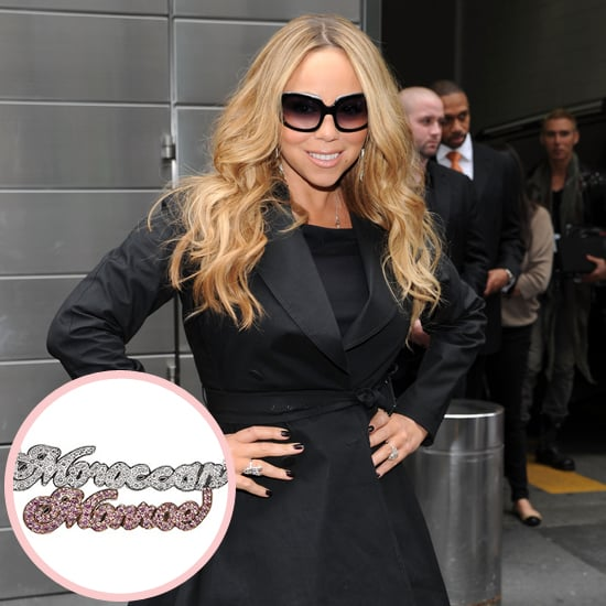 """Mariah Carey is known for her large jewelry collection, as well as her songbird voice, so her husband, Nick Cannon, had to work hard to find a unique gift for his wife after the birth of their twins, Monroe and Moroccan. He found it in a diamond-encrusted nameplate necklace featuring the kids' names. He said, """"It says 'Moroccan and Monroe' in pink-and-white diamonds. My wife has so much jewelry, so I've got be really creative when I give gifts."""""""