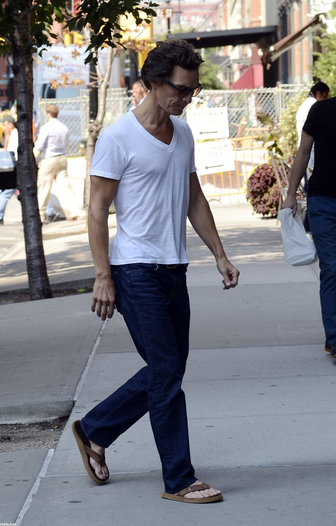 Matthew McConaughey walked into his hotel in NYC.