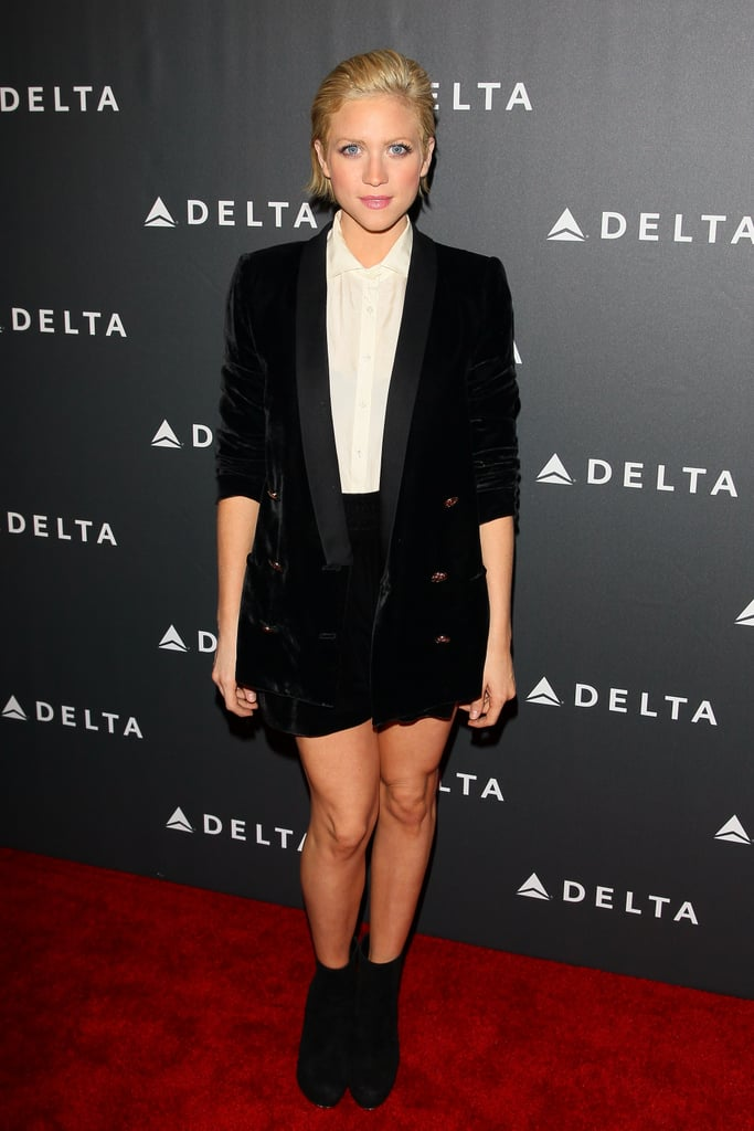 Brittany Snow was charmingly boyish in a black velvet blazer, matching black shorts, a silky white button-down, and ankle boots at a Grammy event in LA.