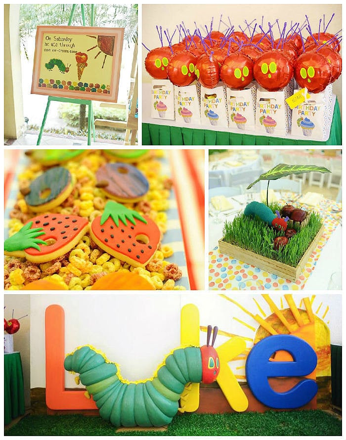 The following post was originally featured on  Kara's Party Ideas  and written by  Kara Allen, who is part of  POPSUGAR Select Moms . This darling Very Hungry Caterpillar birthday party was submitted by Sara Martinez of  Passion Cooks Catering . If you love the tale of The Very Hungry Caterpillar, then you will most definitely enjoy this party! From the darling caterpillar cupcake cake to the fun caterpillar crawling through the grass table centerpieces, this party is so darling and is full of ideas that you could use for either a boy or girl! The Very Hungry Caterpillar party ideas and elements that you won't want to miss from this fabulous birthday bash are:  The darling fruit sugar cookies The cute Hungry Caterpillar cake The fun Hungry Caterpillar crawling through the grass table centerpieces The awesome Very Hungry Caterpillar dessert table banner/chandelier made from paper lanterns The darling Very Hungry Caterpillar stationery and MORE!